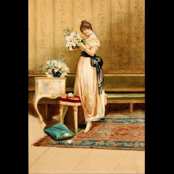 "1130: Polodori ""Portrait of a Woman"" Watercolor"