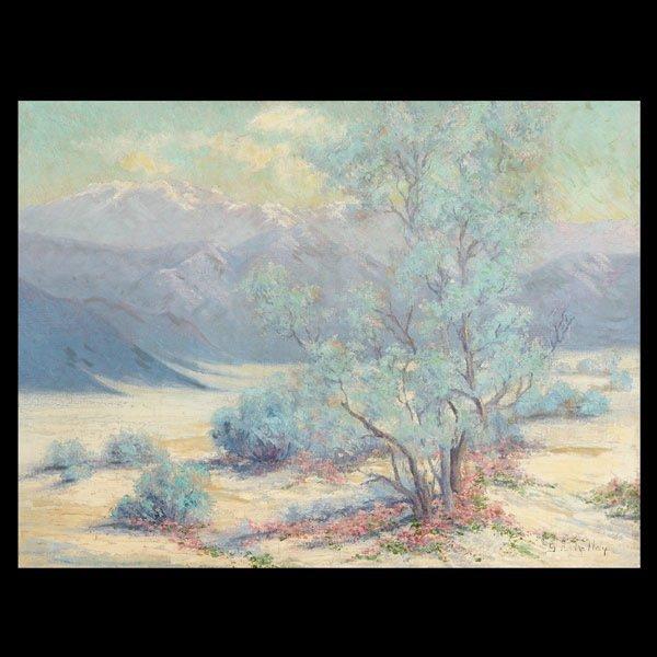 """1132: S Kelly """"Desert Landscape"""" Oil"""