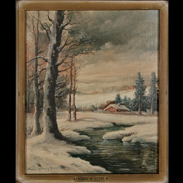 1133: Thomas Manning Moore Oil, Smow Scene, Signed