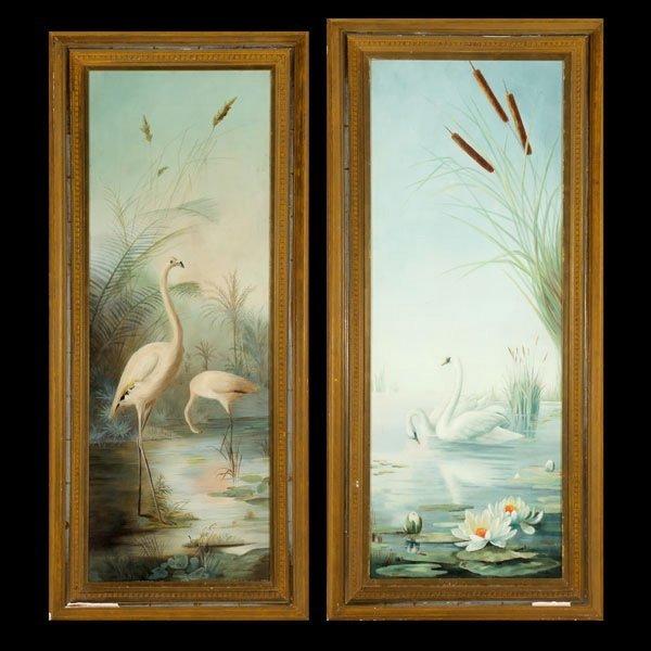 "1138: 2 works ""Water Birds"" Oil"