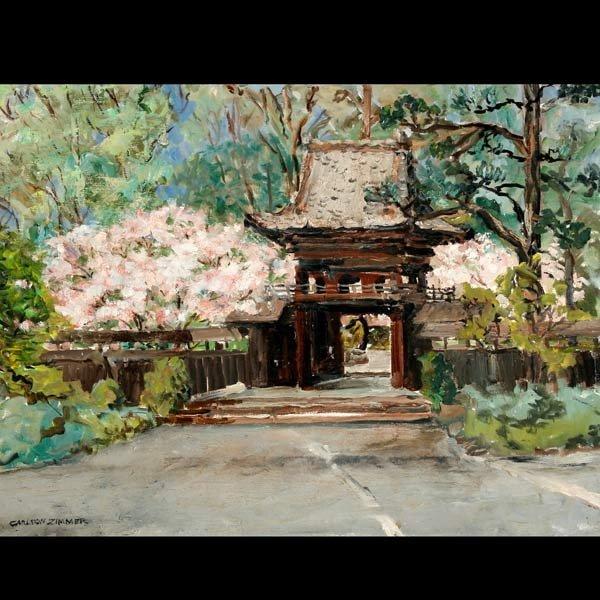 """1141: Carlton Zimmer """"Japanese Tea Garden"""" Oil"""