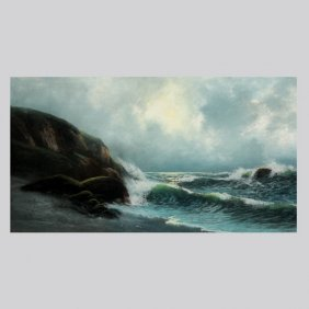 "American School ""Waves Crashing"" Oil Pastel"