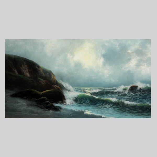 "1143: American School ""Waves Crashing"" Oil Pastel"