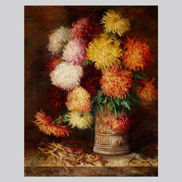 "1144: Josephine Capwell ""Chrysanthemums"" Oil"