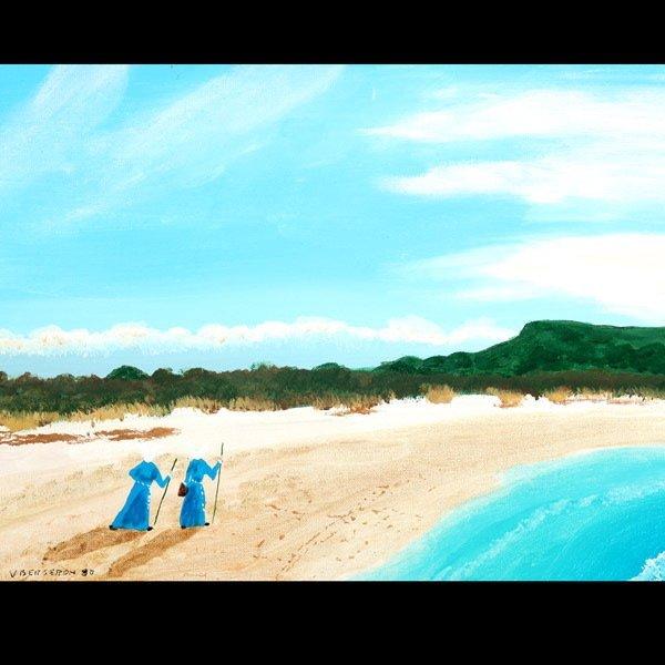 """1145: V Bergeron """"2 Nuns on Beach"""" Acrylic"""