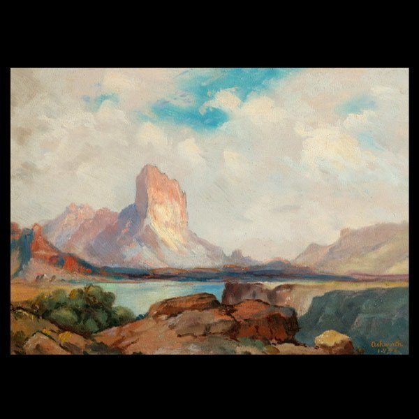1146: Framed Oil on Canvas Landscape; Mountains and Lak