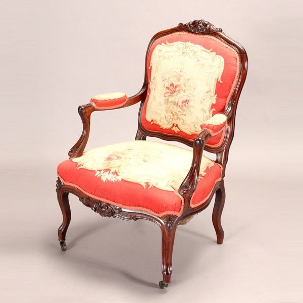 1157: Rococo Carved Frame Rosewood Fauteuil