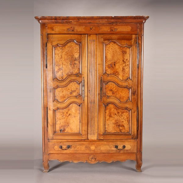 1159: Fine French Burlwood Armoire, 19th Century