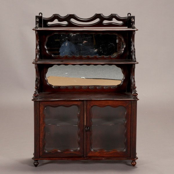 1162: Mahogany and Rosewood Mirror Back Etagere