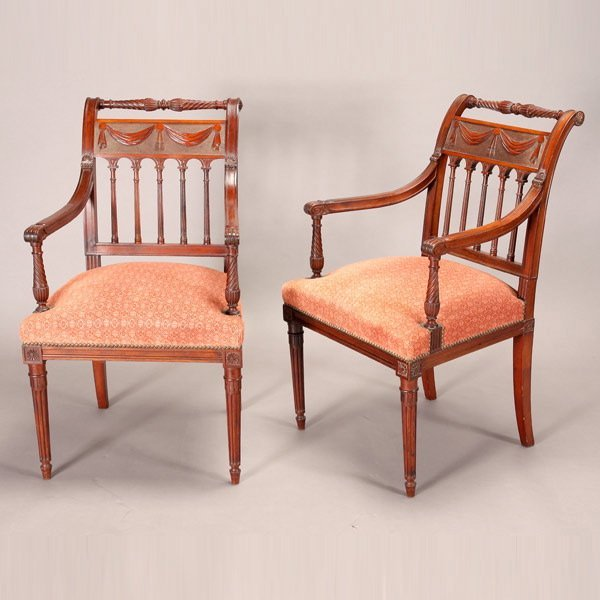 1171: Pair of Fine French Carved Frame Open Armchairs