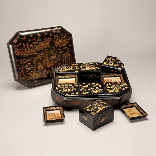1174A: Chinoiserie Lacquered Game and Card Box, 19th C.