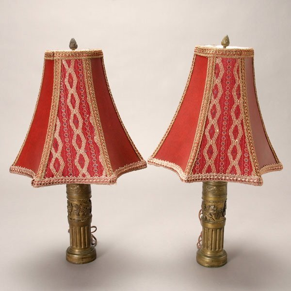 1175: Pair French Brass Table Lamps with Leather Shades