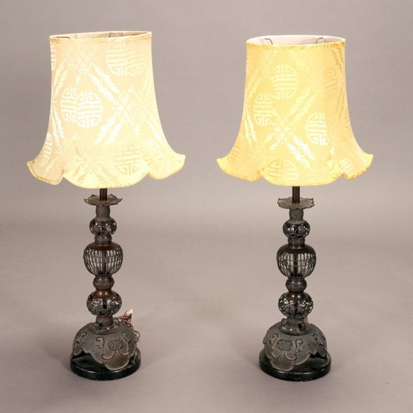 1322: Pair of Asian Style Bronze Lamps with Yellow Shad