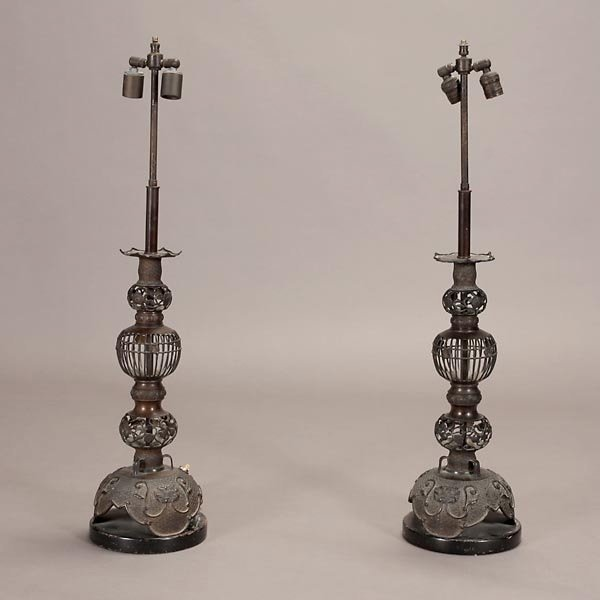 1322: Pair of Asian Style Bronze Lamps with Yellow Shad - 2