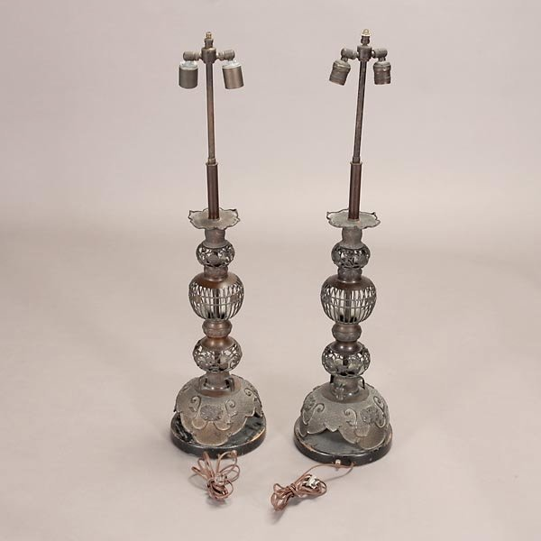 1322: Pair of Asian Style Bronze Lamps with Yellow Shad - 5