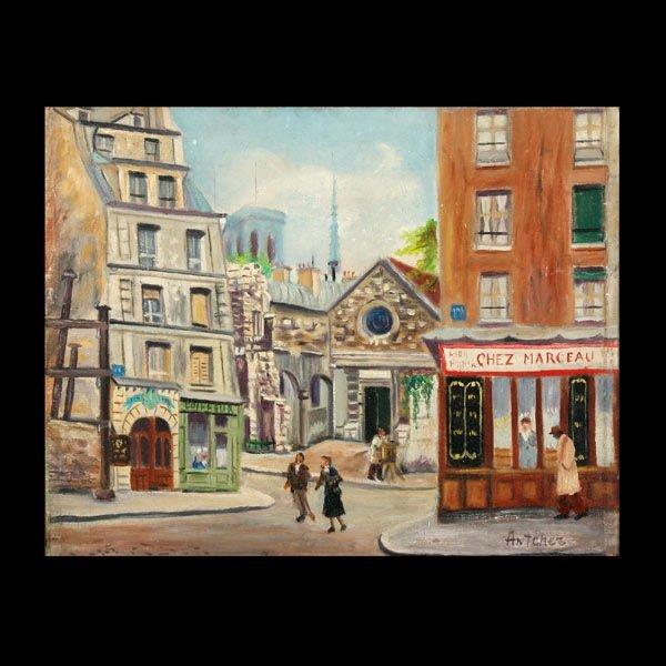 """4: ISAAC ANTCHER  """"Chez Marceau""""   Oil"""