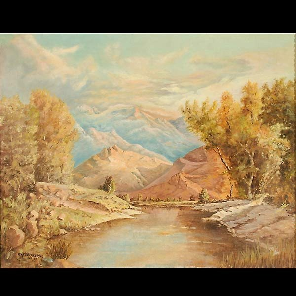 """13: Bernard Kretzschmar. """"Mountain Landscape"""""""