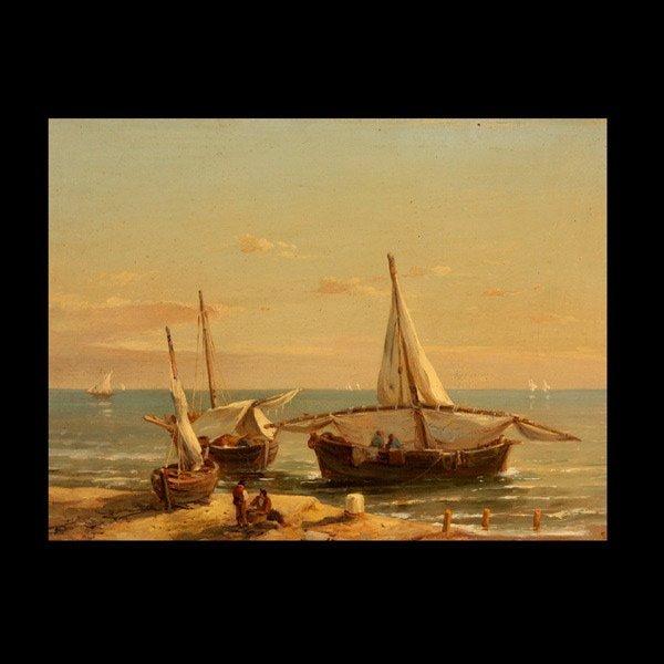 """14: EUGENE DESHAYES """"French Coastal Scene""""  Oil"""