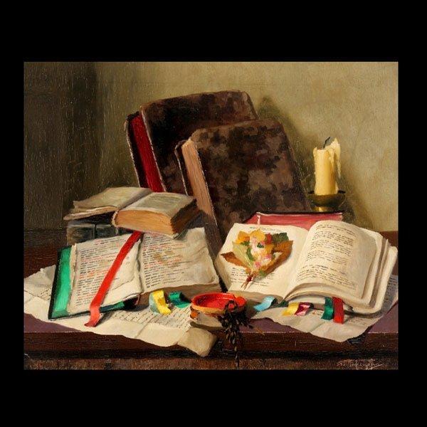 "15: ROMEK ARPAD ""Still Life with Books"" Oil on canvas"