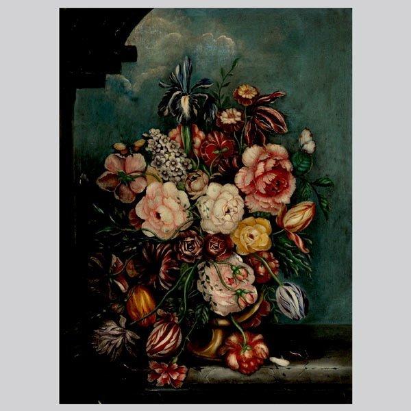 """16: Continental School  """"Floral Still Life"""" Oil"""