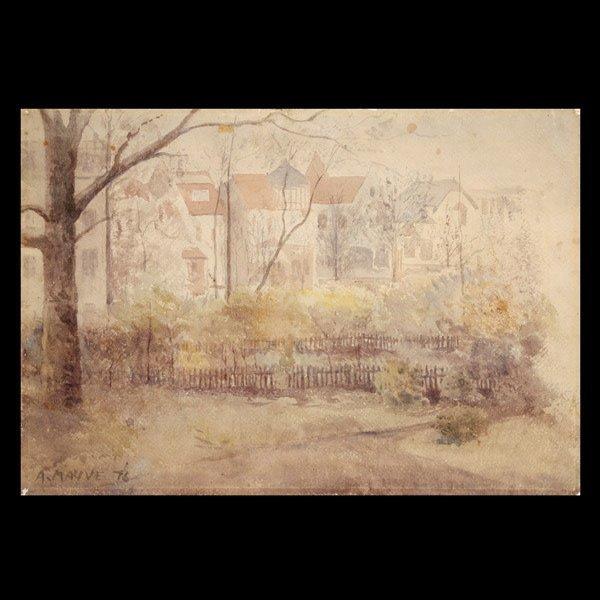 """19: ANTON MAUVE """"View  of Oosterbeek Street"""" Watercolor"""