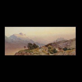 "Continental School  ""Mountain Pass""  Watercolor."