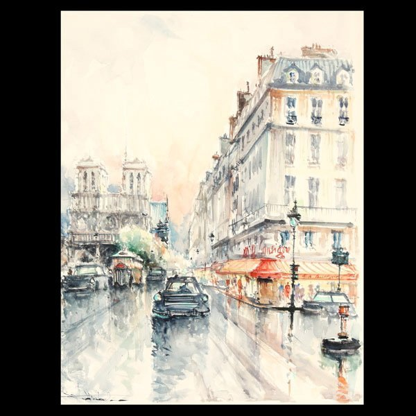 "26: STEPHANE WROBEL ""Noel District, Paris"" Watercolor"