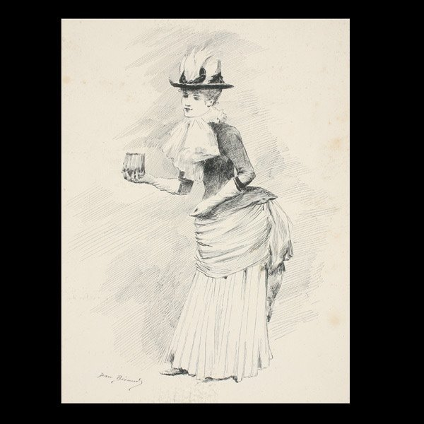"27: Jean Beraud ""Elegante au des Gants"" Ink Drawing"