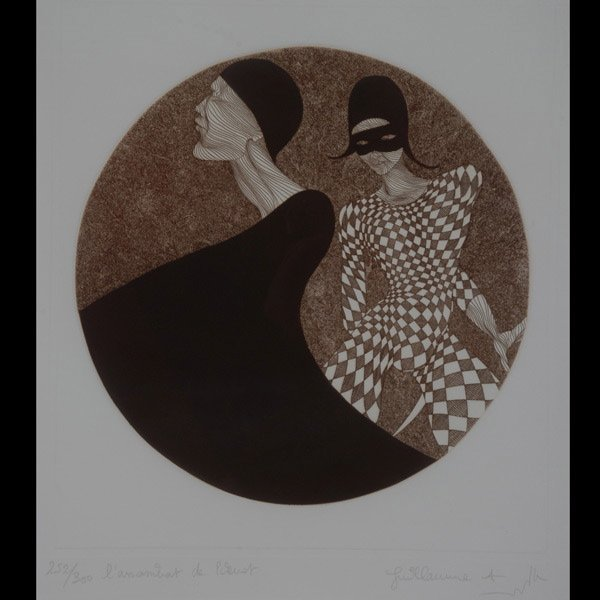 "36: Guillaume Azoulay ""L'Assassinat de Pierrot"" etching"