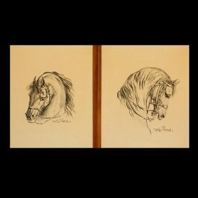 """CARLE VERNET  Two Works: """"Horses""""  Lithographs"""
