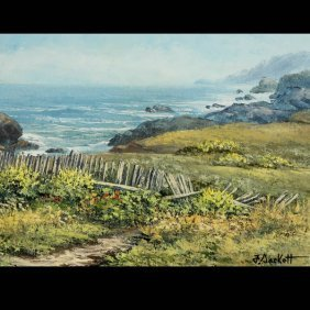 "FLORENCE SACKETT  ""Coast Fence"" Oil On Canvas."