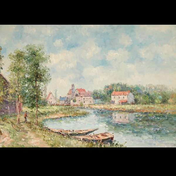 "94: SARRON ""Country House by the Lake"" Oil on canvas"