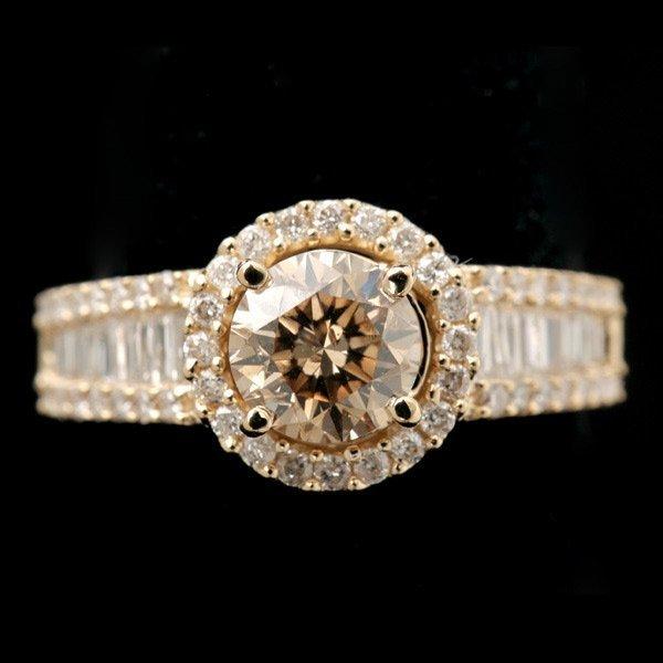 278: DIAMOND, 14K YELLOW GOLD RING.