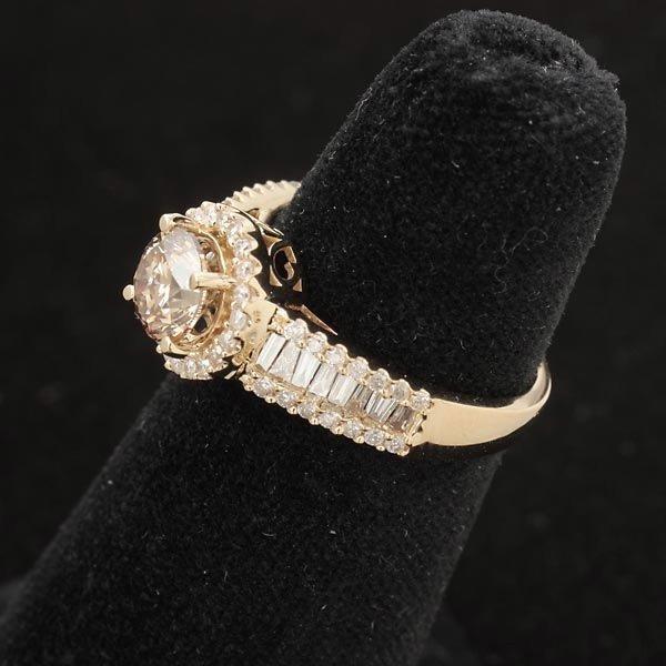 278: DIAMOND, 14K YELLOW GOLD RING. - 2
