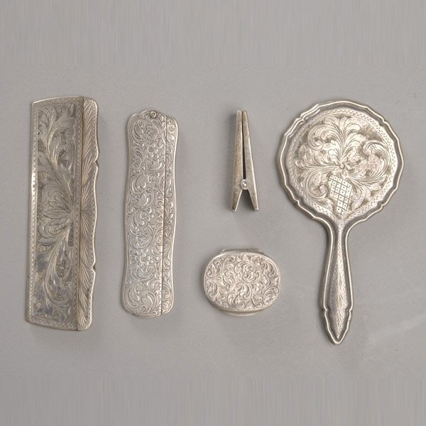 605: Group of Silver Mounted Dresser Items: (5)