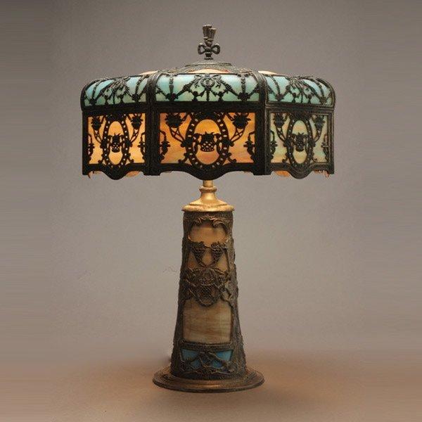 735: Miller Butterscotch and Azure Slag Glass Table Lam