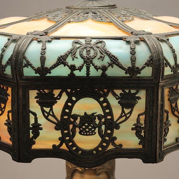 735: Miller Butterscotch and Azure Slag Glass Table Lam - 2