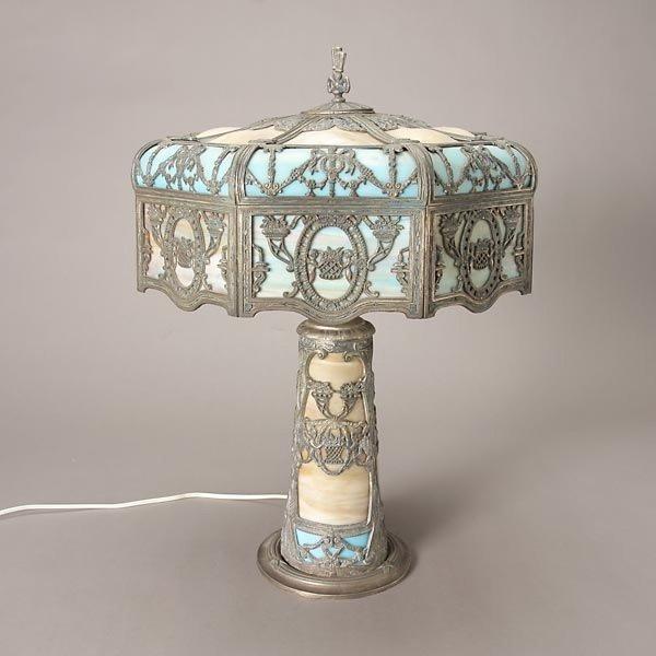 735: Miller Butterscotch and Azure Slag Glass Table Lam - 3