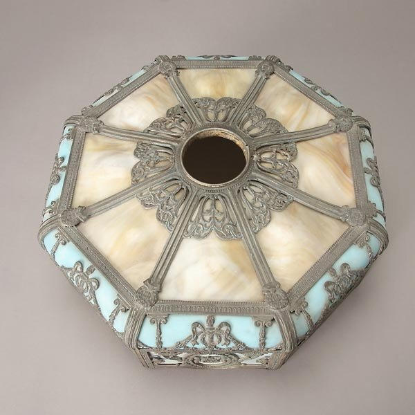 735: Miller Butterscotch and Azure Slag Glass Table Lam - 5