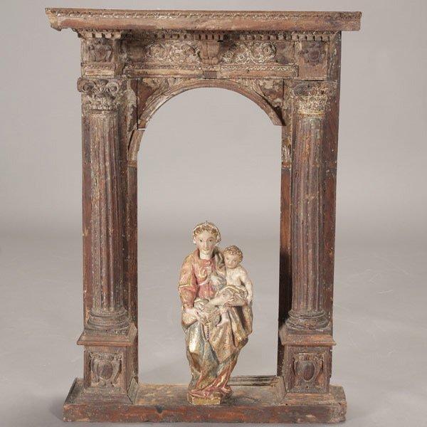 1001: Italian Polychrome Parcel Gilt Madonna and Child