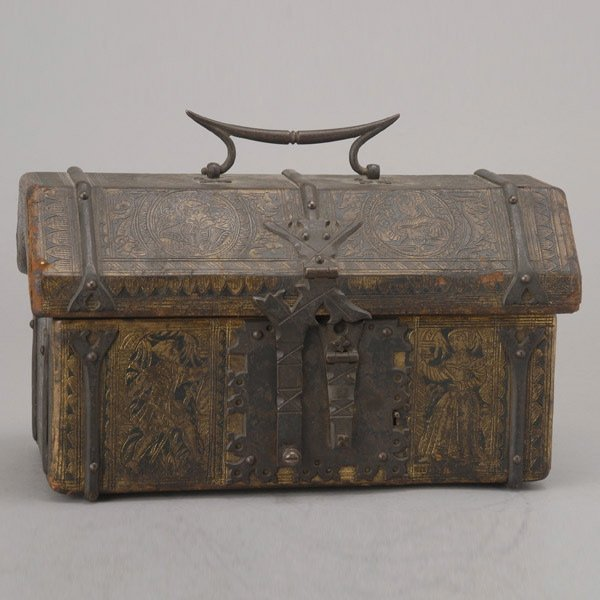 1002: Renaissance Revival Leather Mounted Box