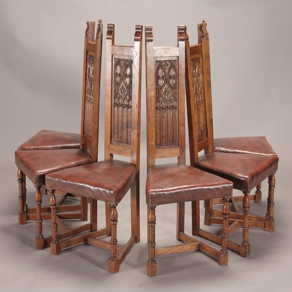 1006: Suite of Six Gothic Revival Chairs