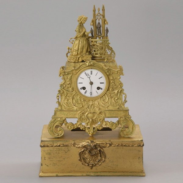 1007: Gothic Revival Japys Freres Statue Clock