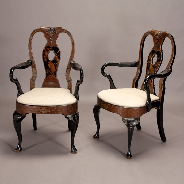 1012: Pair of Queen Anne Style Japanned Armchairs