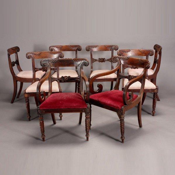 1018: Eight English Regency Mahogany Dining Chairs
