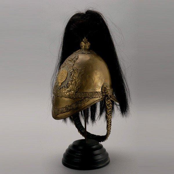1019: British Albert Yeoman Gilt Brass Cavalry Helmet