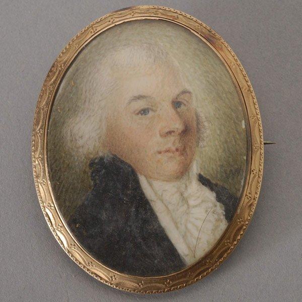 1022: American School Portrait Miniature of a Man