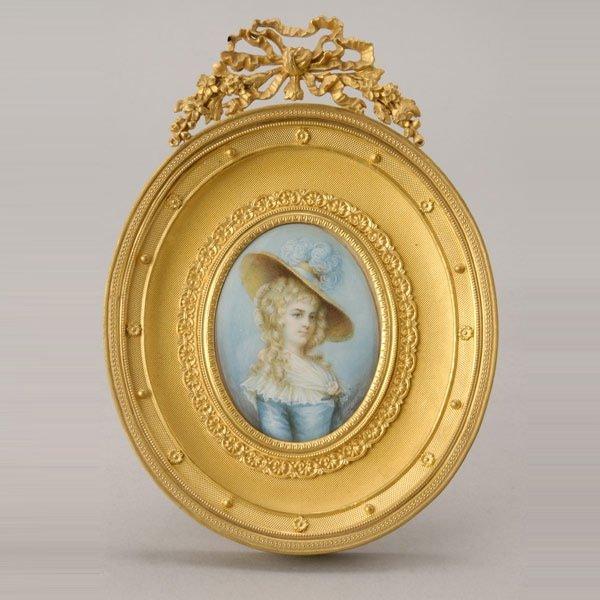 1024: J. Hurst Portrait Miniature in Gilt Bronze Frame