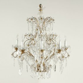 Louis XV Style Crystal Eight Light Chandelier