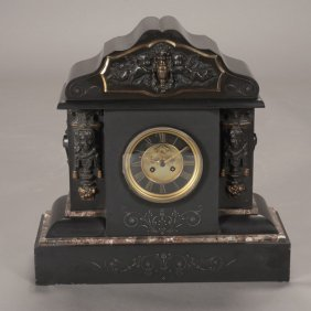 French Black Slate Clock With Open Escapement